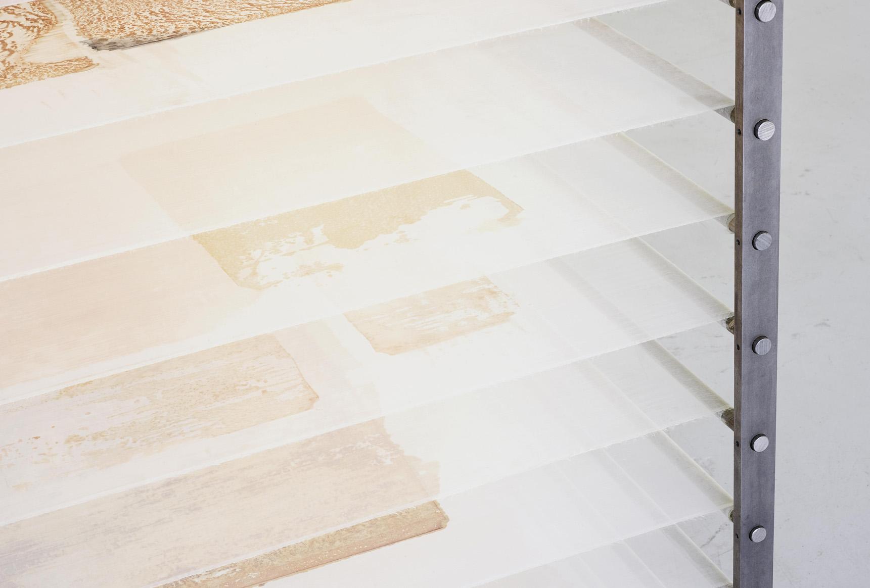 Untitled, 2015, metal, silk rustprint, 250 x 100 x100 cm